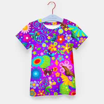 Thumbnail image of Abstract Flowers with Butterflies Kid's T-shirt, Live Heroes