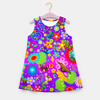 Thumbnail image of Abstract Flowers with Butterflies Girl's Summer Dress, Live Heroes