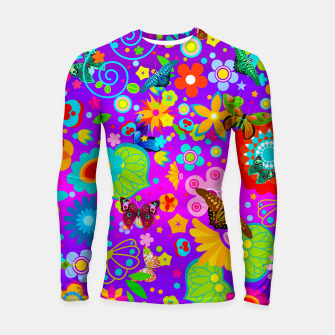 Thumbnail image of Abstract Flowers with Butterflies Longsleeve Rashguard , Live Heroes