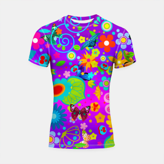 Thumbnail image of Abstract Flowers with Butterflies Shortsleeve Rashguard, Live Heroes