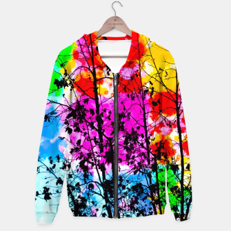 Miniaturka tree branch with splash painting texture abstract background in pink blue red yellow green Hoodie, Live Heroes