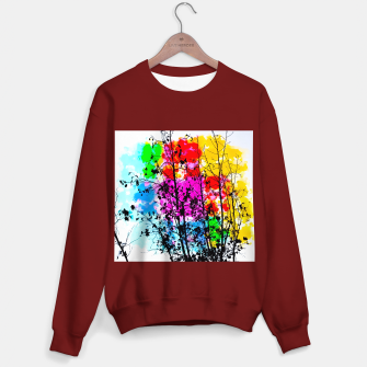 Imagen en miniatura de tree branch with splash painting texture abstract background in pink blue red yellow green Sweater regular, Live Heroes