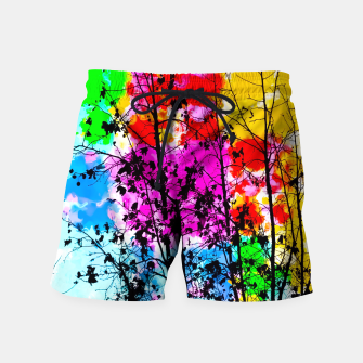 Imagen en miniatura de tree branch with splash painting texture abstract background in pink blue red yellow green Swim Shorts, Live Heroes