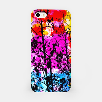 Thumbnail image of tree branch with splash painting texture abstract background in pink blue red yellow green iPhone Case, Live Heroes