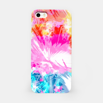 Thumbnail image of palm leaf texture abstract background in pink blue red yellow green iPhone Case, Live Heroes