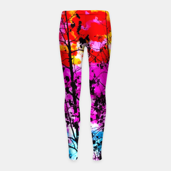 Miniaturka tree branch with splash painting texture abstract background in pink blue red yellow green Girl's Leggings, Live Heroes