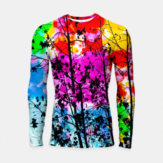 Thumbnail image of tree branch with splash painting texture abstract background in pink blue red yellow green Longsleeve Rashguard , Live Heroes