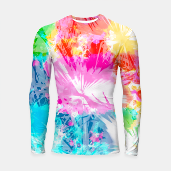 Thumbnail image of palm leaf texture abstract background in pink blue red yellow green Longsleeve Rashguard , Live Heroes