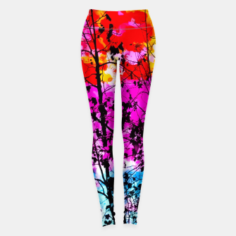 Thumbnail image of tree branch with splash painting texture abstract background in pink blue red yellow green Leggings, Live Heroes