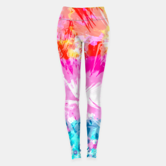 Thumbnail image of palm leaf texture abstract background in pink blue red yellow green Leggings, Live Heroes