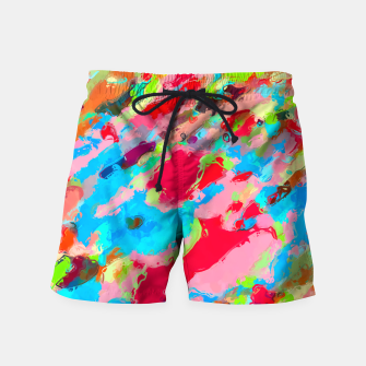 Imagen en miniatura de camouflage pattern painting abstract background in green blue pink red orange Swim Shorts, Live Heroes