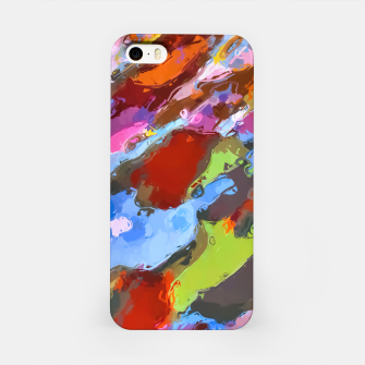 Thumbnail image of camouflage pattern painting abstract background in green blue pink orange brown iPhone Case, Live Heroes