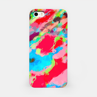 Thumbnail image of camouflage pattern painting abstract background in green blue pink red orange iPhone Case, Live Heroes