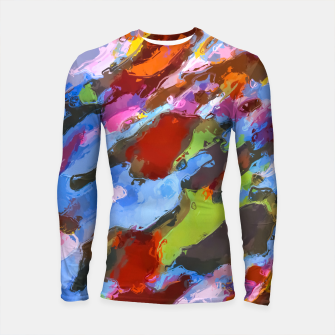 Thumbnail image of camouflage pattern painting abstract background in green blue pink orange brown Longsleeve Rashguard , Live Heroes