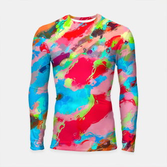 Thumbnail image of camouflage pattern painting abstract background in green blue pink red orange Longsleeve Rashguard , Live Heroes