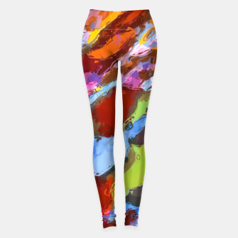 Thumbnail image of camouflage pattern painting abstract background in green blue pink orange brown Leggings, Live Heroes