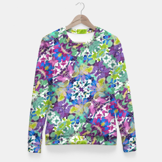 Thumbnail image of Colorful Modern Floral Print Fitted Waist Sweater, Live Heroes