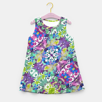 Miniaturka Colorful Modern Floral Print Girl's Summer Dress, Live Heroes