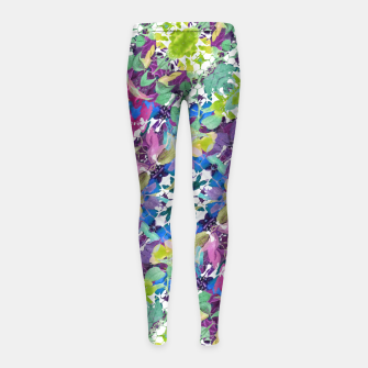 Thumbnail image of Colorful Modern Floral Print Girl's Leggings, Live Heroes