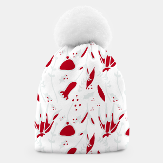 Miniatur winter floral white Beanie, Live Heroes