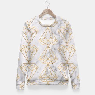 Miniature de image de Gold Leaf Diamonds on Marble Background Fitted Waist Sweater, Live Heroes