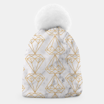 Imagen en miniatura de Gold Leaf Diamonds on Marble Background Beanie, Live Heroes