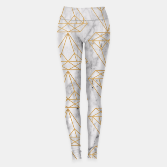 Miniature de image de Gold Leaf Diamonds on Marble Background Leggings, Live Heroes