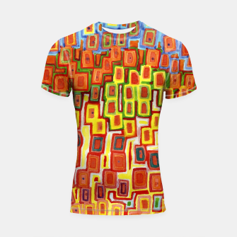 Miniatur Squeezed together Squares Pattern  Shortsleeve Rashguard, Live Heroes