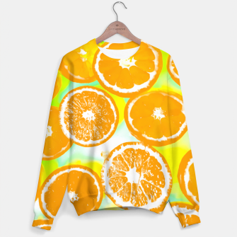 juicy orange pattern abstract with yellow and green background Sweater imagen en miniatura