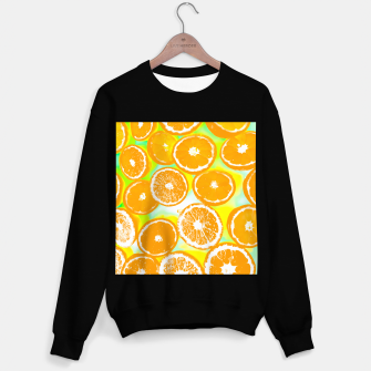 Thumbnail image of juicy orange pattern abstract with yellow and green background Sweater regular, Live Heroes