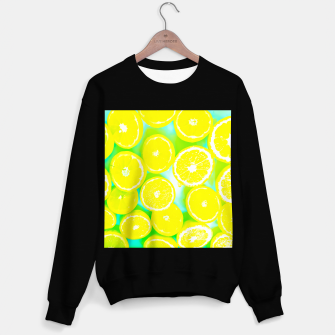 Thumbnail image of juicy yellow lemon pattern abstract with green background Sweater regular, Live Heroes