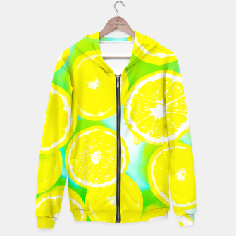 Miniature de image de juicy yellow lemon pattern abstract with green background Hoodie, Live Heroes