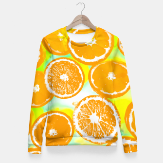 Miniature de image de juicy orange pattern abstract with yellow and green background Fitted Waist Sweater, Live Heroes