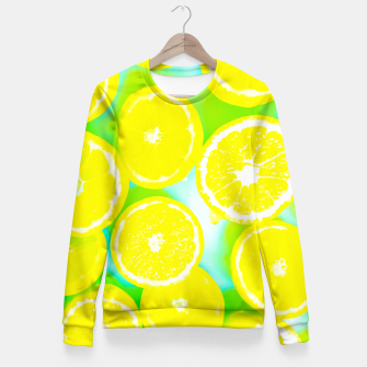 Miniature de image de juicy yellow lemon pattern abstract with green background Fitted Waist Sweater, Live Heroes