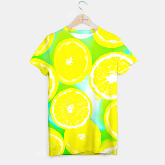 Miniatur juicy yellow lemon pattern abstract with green background T-shirt, Live Heroes