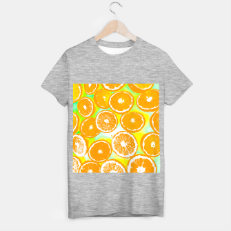 juicy orange pattern abstract with yellow and green background T-shirt regular imagen en miniatura
