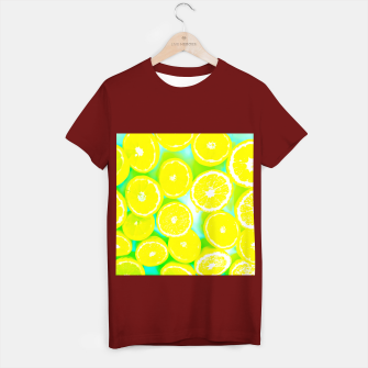 Miniaturka juicy yellow lemon pattern abstract with green background T-shirt regular, Live Heroes
