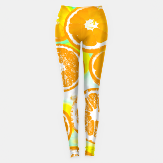 juicy orange pattern abstract with yellow and green background Leggings imagen en miniatura