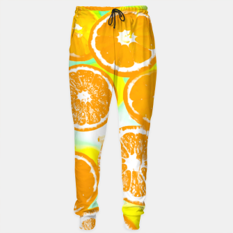 juicy orange pattern abstract with yellow and green background Sweatpants imagen en miniatura