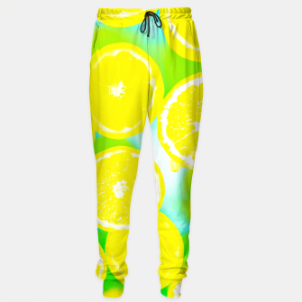 Thumbnail image of juicy yellow lemon pattern abstract with green background Sweatpants, Live Heroes