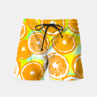 juicy orange pattern abstract with yellow and green background Swim Shorts imagen en miniatura