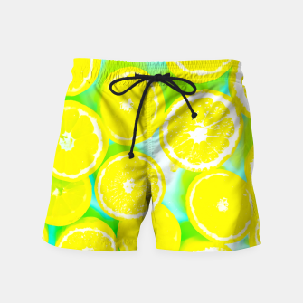 Miniature de image de juicy yellow lemon pattern abstract with green background Swim Shorts, Live Heroes