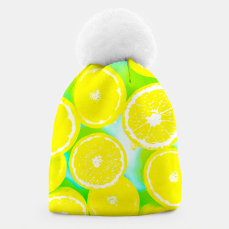 Imagen en miniatura de juicy yellow lemon pattern abstract with green background Beanie, Live Heroes