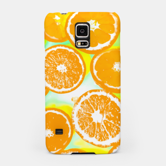 juicy orange pattern abstract with yellow and green background Samsung Case imagen en miniatura