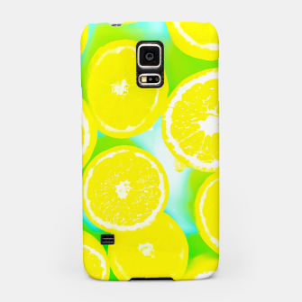 Miniaturka juicy yellow lemon pattern abstract with green background Samsung Case, Live Heroes