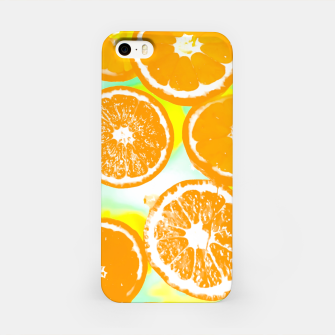 juicy orange pattern abstract with yellow and green background iPhone Case imagen en miniatura