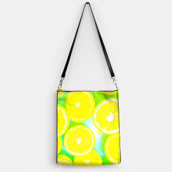 Miniaturka juicy yellow lemon pattern abstract with green background Handbag, Live Heroes
