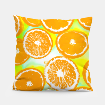 juicy orange pattern abstract with yellow and green background Pillow imagen en miniatura