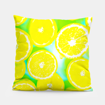 Miniaturka juicy yellow lemon pattern abstract with green background Pillow, Live Heroes