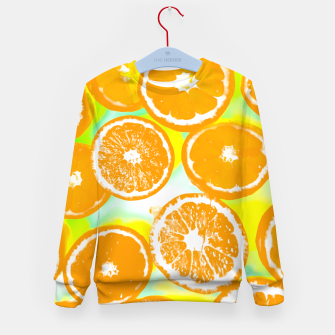 Miniatur juicy orange pattern abstract with yellow and green background Kid's Sweater, Live Heroes